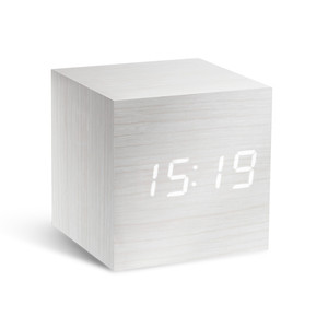 Gingko - Click Clock Cube, white / LED white