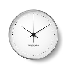 Georg Jensen - Henning Koppel Wall Clock Ø 22 cm, stainless steel / white